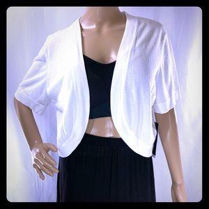 Perceptions White Knit Bolero Shrugs Cover Up XL